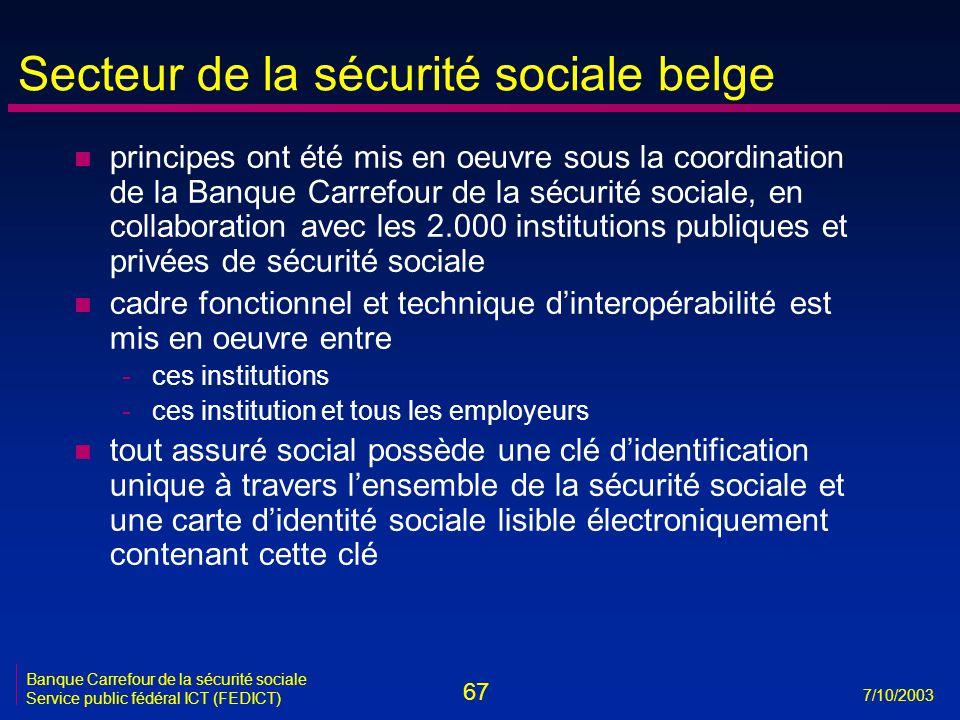 67 7/10/2003 Banque Carrefour de la sécurité sociale Service public fédéral ICT (FEDICT) Secteur de la sécurité sociale belge n principes ont été mis