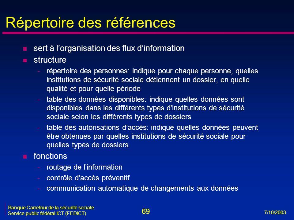 69 7/10/2003 Banque Carrefour de la sécurité sociale Service public fédéral ICT (FEDICT) Répertoire des références n sert à l'organisation des flux d'