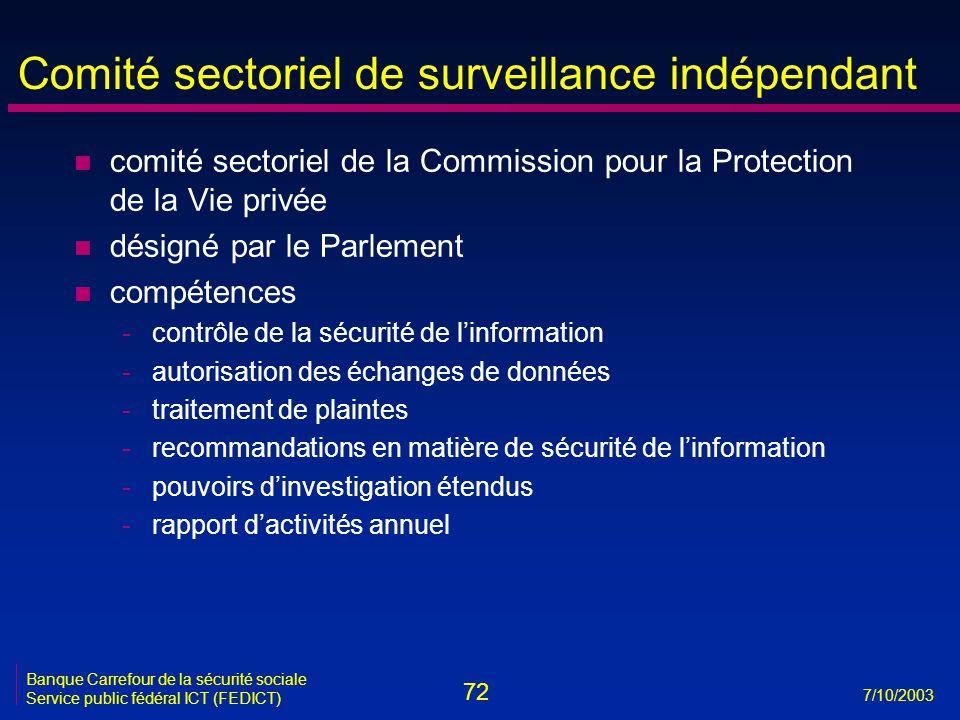 72 7/10/2003 Banque Carrefour de la sécurité sociale Service public fédéral ICT (FEDICT) Comité sectoriel de surveillance indépendant n comité sectori