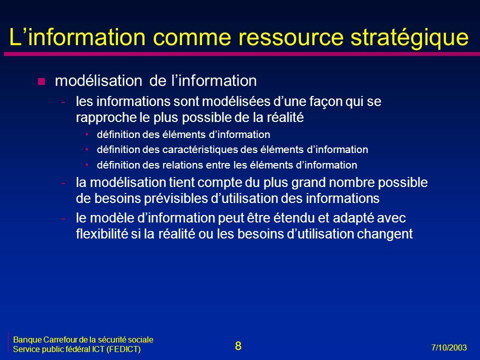 8 7/10/2003 Banque Carrefour de la sécurité sociale Service public fédéral ICT (FEDICT) L'information comme ressource stratégique n modélisation de l'