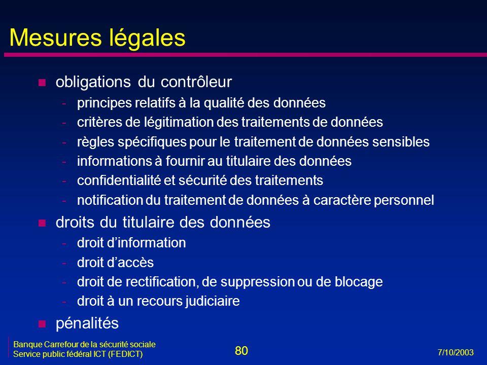 80 7/10/2003 Banque Carrefour de la sécurité sociale Service public fédéral ICT (FEDICT) Mesures légales n obligations du contrôleur -principes relati