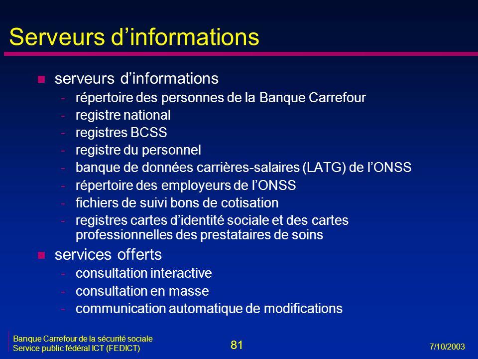 81 7/10/2003 Banque Carrefour de la sécurité sociale Service public fédéral ICT (FEDICT) Serveurs d'informations n serveurs d'informations -répertoire