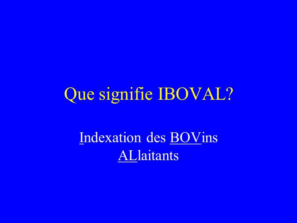Que signifie IBOVAL? Indexation des BOVins ALlaitants