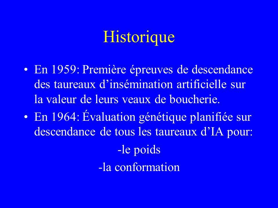 Historique •En 1959: Première épreuves de descendance des taureaux d'insémination artificielle sur la valeur de leurs veaux de boucherie.