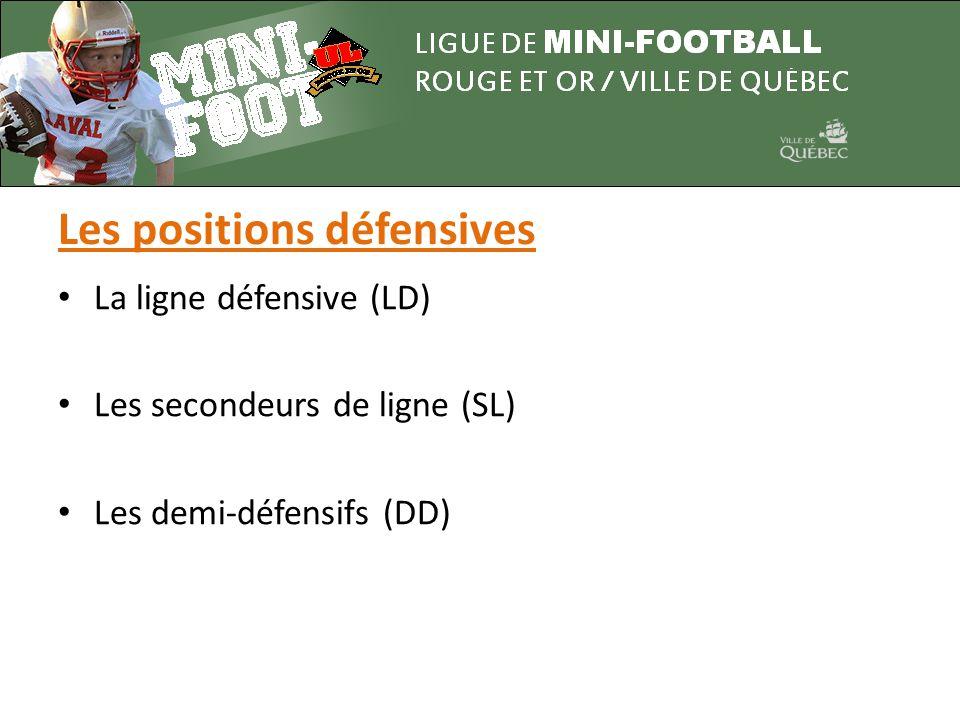 • La ligne défensive (LD) • Les secondeurs de ligne (SL) • Les demi-défensifs (DD) Les positions défensives