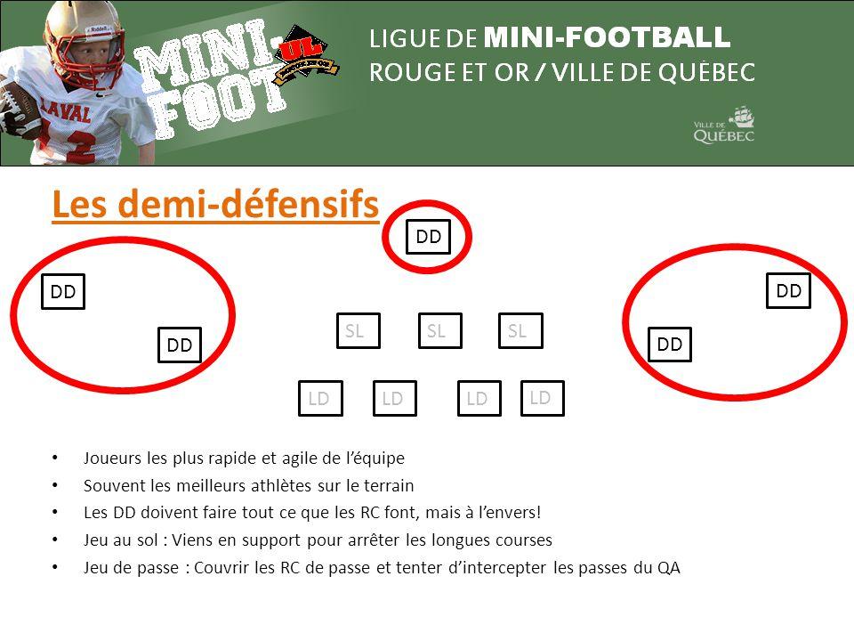 Les demi-défensifs LD SL DD • Joueurs les plus rapide et agile de l'équipe • Souvent les meilleurs athlètes sur le terrain • Les DD doivent faire tout ce que les RC font, mais à l'envers.