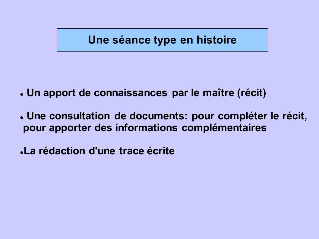 Une séance type en histoire  Un apport de connaissances par le maître (récit)  Une consultation de documents: pour compléter le récit, pour apporte