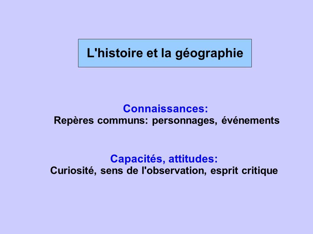 L'histoire et la géographie Connaissances: Repères communs: personnages, événements Capacités, attitudes: Curiosité, sens de l'observation, esprit cri