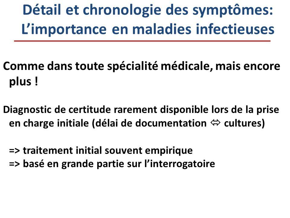 Détail et chronologie des symptômes: L'importance en maladies infectieuses Comme dans toute spécialité médicale, mais encore plus ! Diagnostic de cert