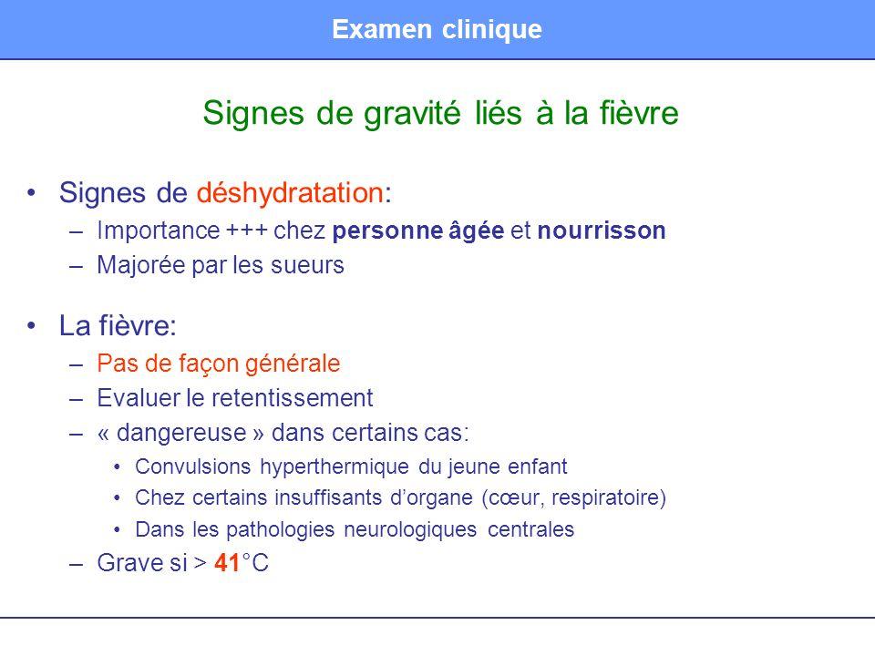 Examen clinique Signes de gravité liés à la fièvre •Signes de déshydratation: –Importance +++ chez personne âgée et nourrisson –Majorée par les sueurs