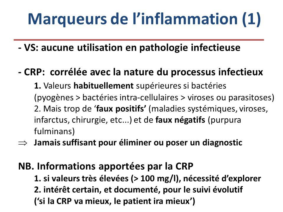 Marqueurs de l'inflammation (1) - VS: aucune utilisation en pathologie infectieuse - CRP: corrélée avec la nature du processus infectieux 1. Valeurs h