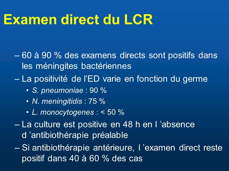 Examen direct du LCR –60 à 90 % des examens directs sont positifs dans les méningites bactériennes –La positivité de l'ED varie en fonction du germe •S.