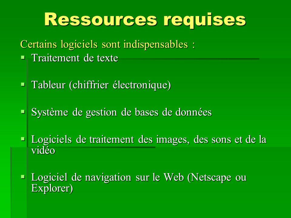 Ressources requises Certains logiciels sont indispensables :  Traitement de texte  Tableur (chiffrier électronique)  Système de gestion de bases de