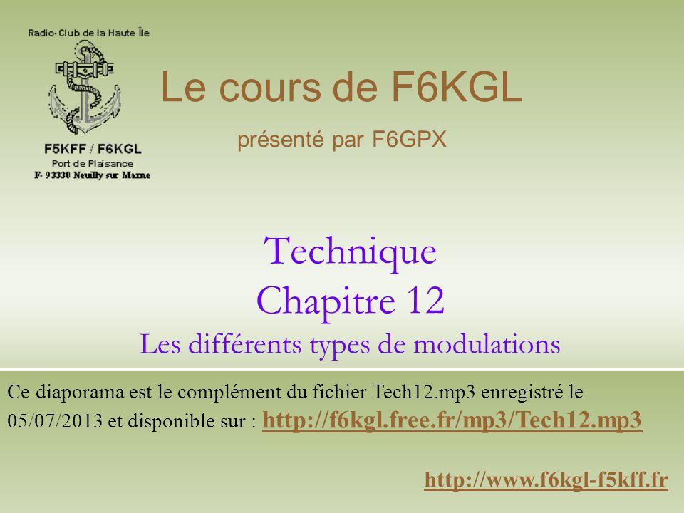 Technique Chapitre 12 Les différents types de modulations http://www.f6kgl-f5kff.fr Le cours de F6KGL présenté par F6GPX Ce diaporama est le complémen