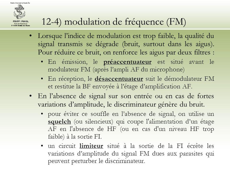 12-4) modulation de fréquence (FM) •Lorsque l'indice de modulation est trop faible, la qualité du signal transmis se dégrade (bruit, surtout dans les