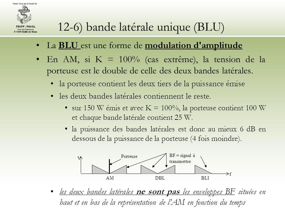 12-6) bande latérale unique (BLU) •La BLU est une forme de modulation d'amplitude •En AM, si K = 100% (cas extrême), la tension de la porteuse est le