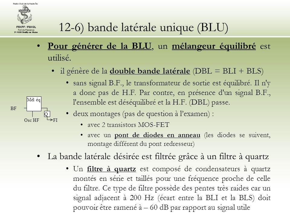 12-6) bande latérale unique (BLU) •Pour générer de la BLU, un mélangeur équilibré est utilisé. •il génère de la double bande latérale (DBL = BLI + BLS