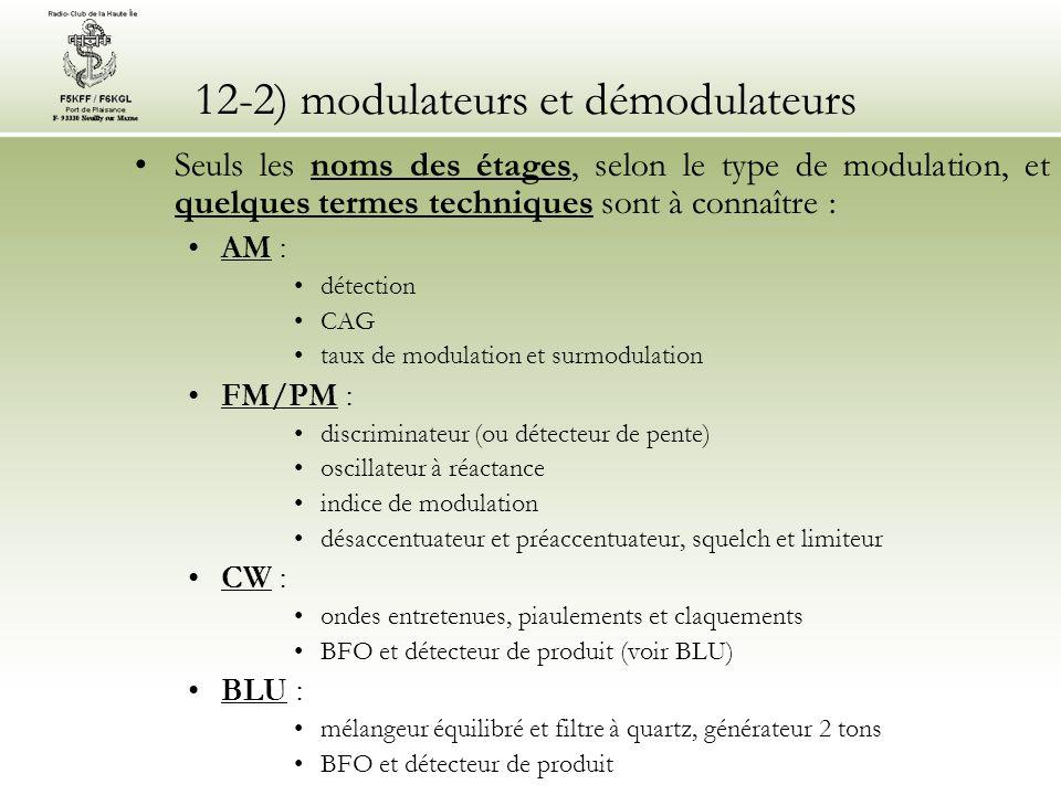 12-3) modulation d amplitude (AM) •La modulation d'amplitude (AM) reste la modulation la plus simple à mettre en œuvre tant en émission qu'en réception •L'étage de démodulation se nomme détection (ou détecteur d enveloppe) : •il est constituée d une diode suivie d un circuit RC passe-bas pour filtrer la H.F.
