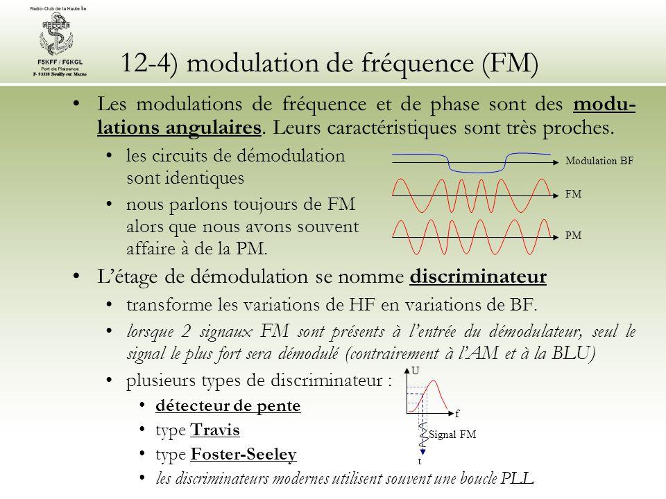 12-4) modulation de fréquence (FM) •Les modulations de fréquence et de phase sont des modu- lations angulaires. Leurs caractéristiques sont très proch