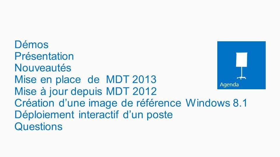 Agenda Démos Présentation Nouveautés Mise en place de MDT 2013 Mise à jour depuis MDT 2012 Création d'une image de référence Windows 8.1 Déploiement i
