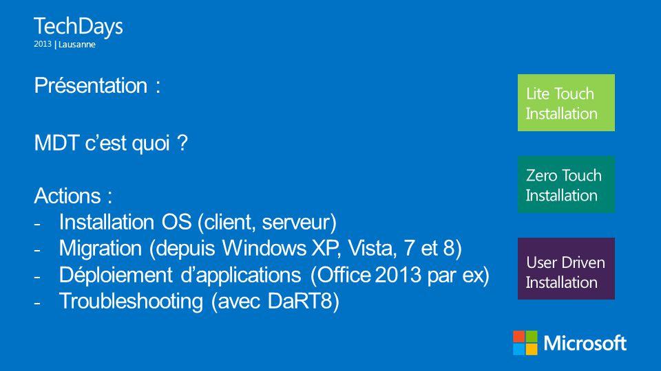 | Lausanne Présentation : MDT c'est quoi ? Actions : - Installation OS (client, serveur) - Migration (depuis Windows XP, Vista, 7 et 8) - Déploiement
