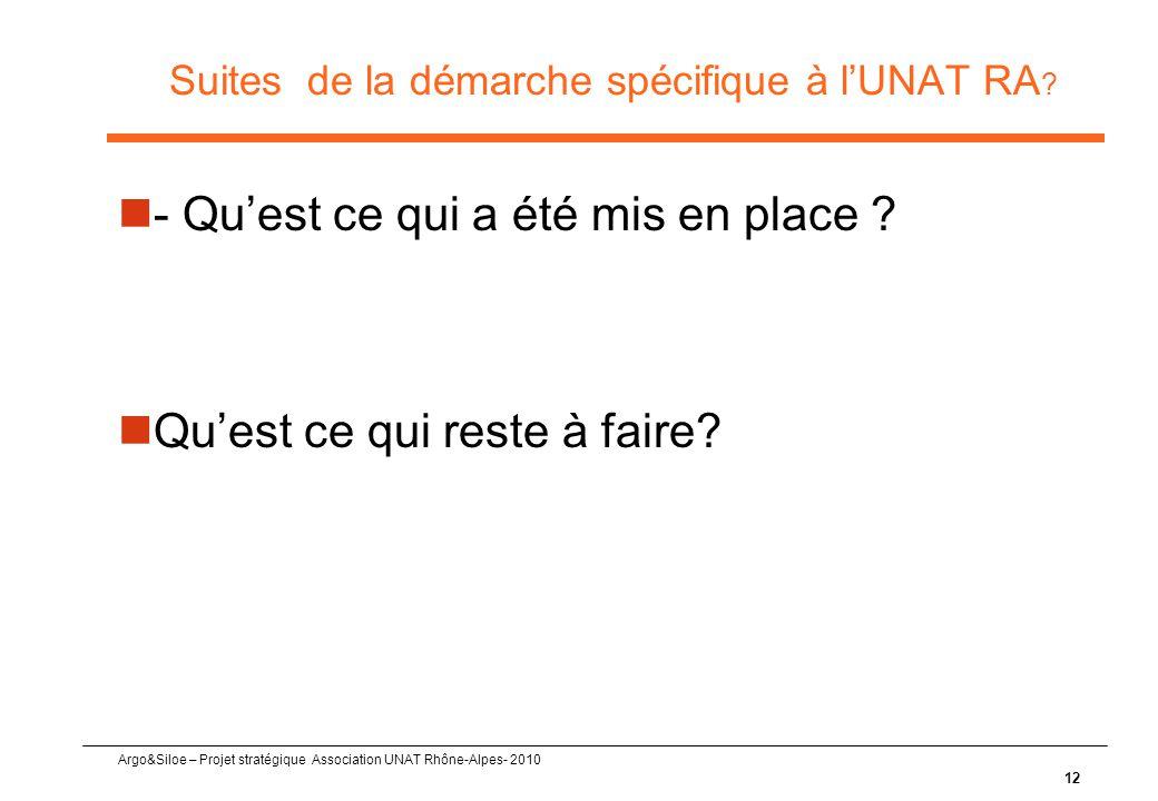 Argo&Siloe – Projet stratégique Association UNAT Rhône-Alpes- 2010 Suites de la démarche spécifique à l'UNAT RA ?  - Qu'est ce qui a été mis en place