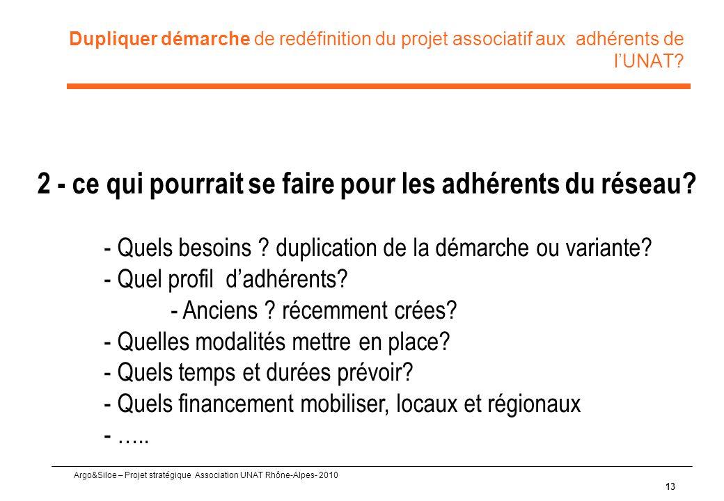 Argo&Siloe – Projet stratégique Association UNAT Rhône-Alpes- 2010 Dupliquer démarche de redéfinition du projet associatif aux adhérents de l'UNAT? 13