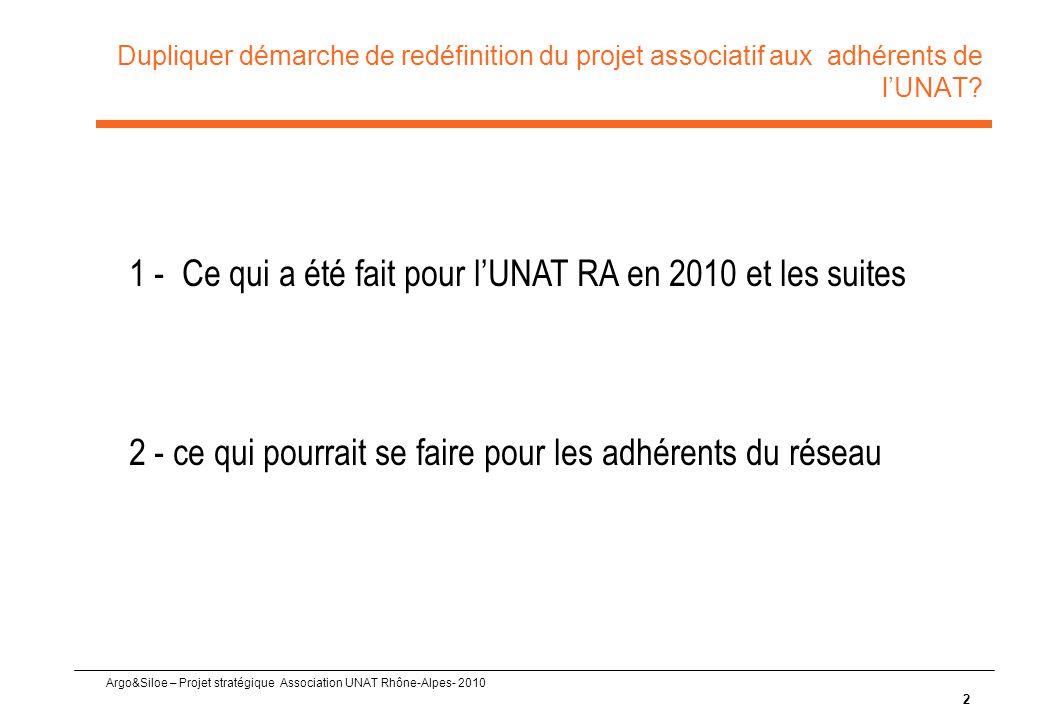 Argo&Siloe – Projet stratégique Association UNAT Rhône-Alpes- 2010 Dupliquer démarche de redéfinition du projet associatif aux adhérents de l'UNAT.