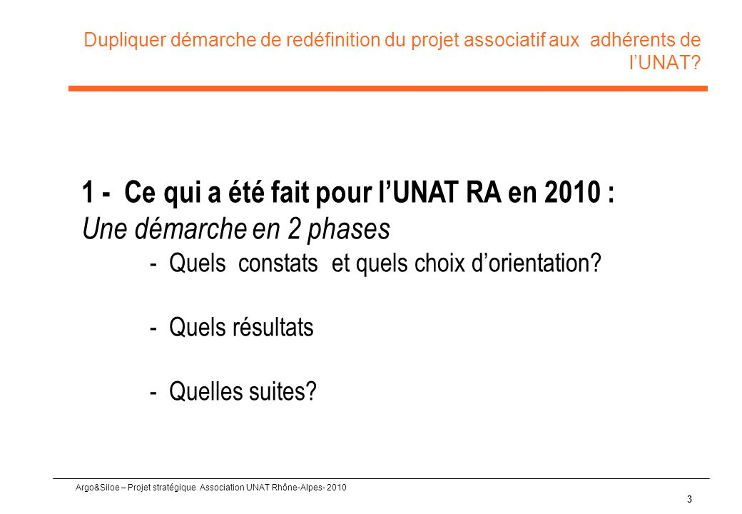Argo&Siloe – Projet stratégique Association UNAT Rhône-Alpes- 2010 Dupliquer démarche de redéfinition du projet associatif aux adhérents de l'UNAT? 3