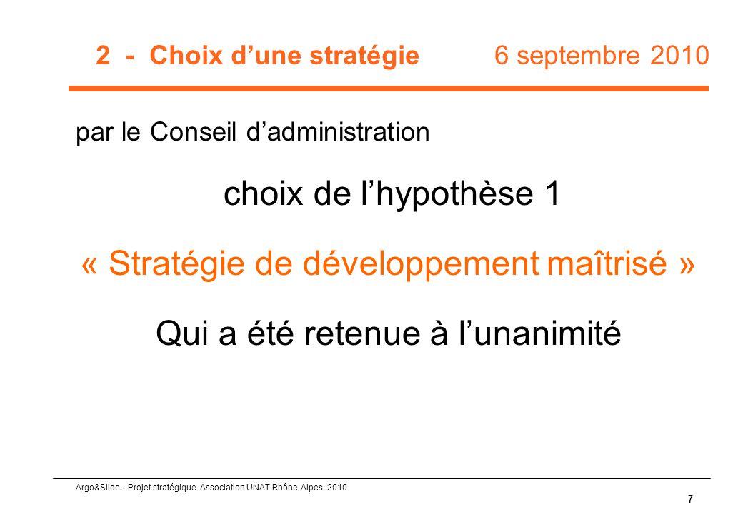 Argo&Siloe – Projet stratégique Association UNAT Rhône-Alpes- 2010 7 2 - Choix d'une stratégie 6 septembre 2010 par le Conseil d'administration choix de l'hypothèse 1 « Stratégie de développement maîtrisé » Qui a été retenue à l'unanimité