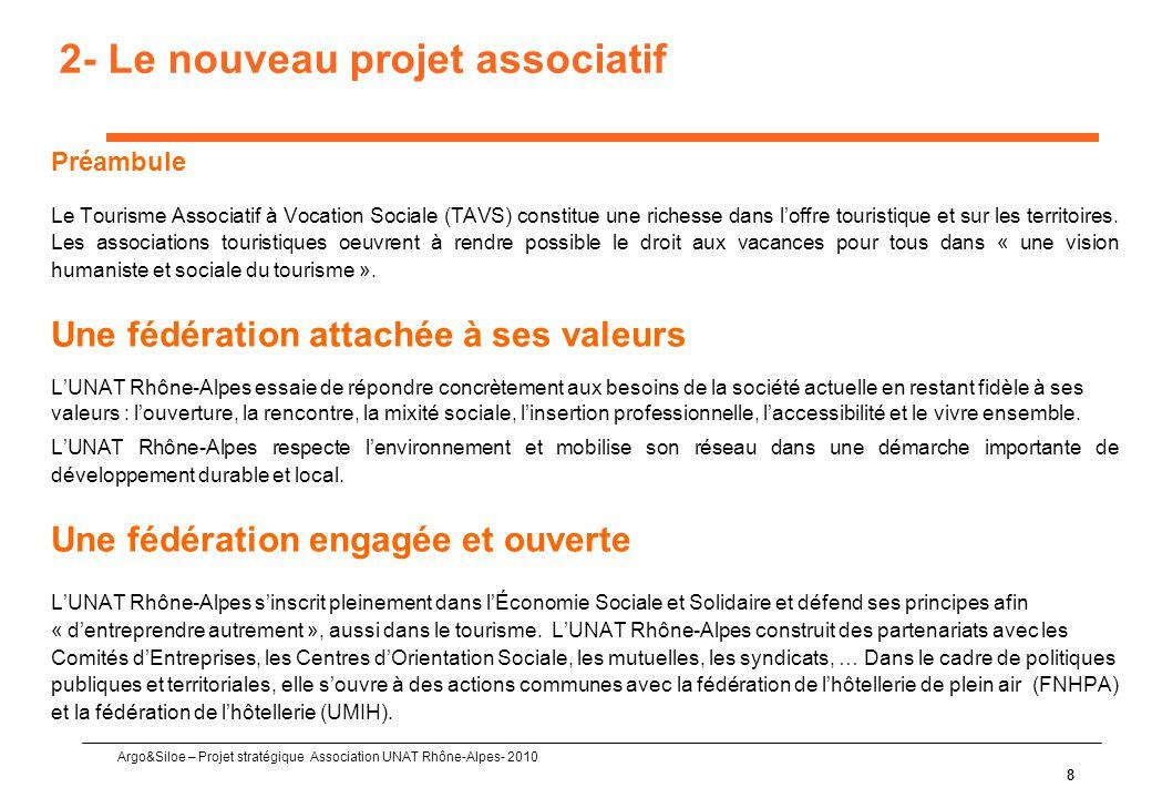 Argo&Siloe – Projet stratégique Association UNAT Rhône-Alpes- 2010 8 2- Le nouveau projet associatif Préambule Le Tourisme Associatif à Vocation Sociale (TAVS) constitue une richesse dans l'offre touristique et sur les territoires.