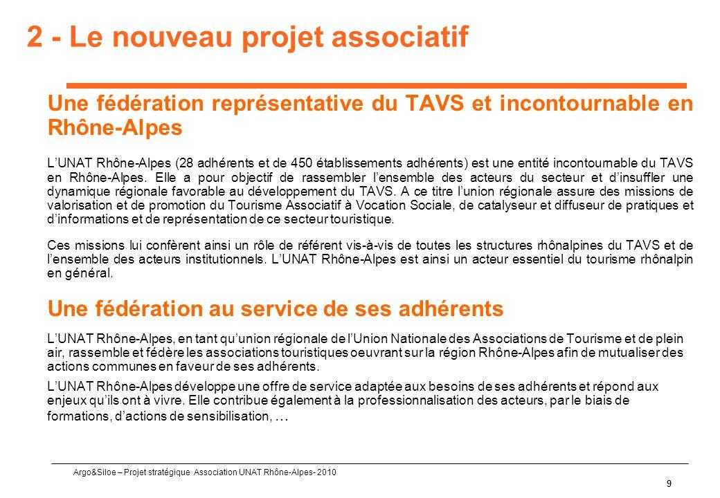 Argo&Siloe – Projet stratégique Association UNAT Rhône-Alpes- 2010 9 2 - Le nouveau projet associatif Une fédération représentative du TAVS et incontournable en Rhône-Alpes L'UNAT Rhône-Alpes (28 adhérents et de 450 établissements adhérents) est une entité incontournable du TAVS en Rhône-Alpes.