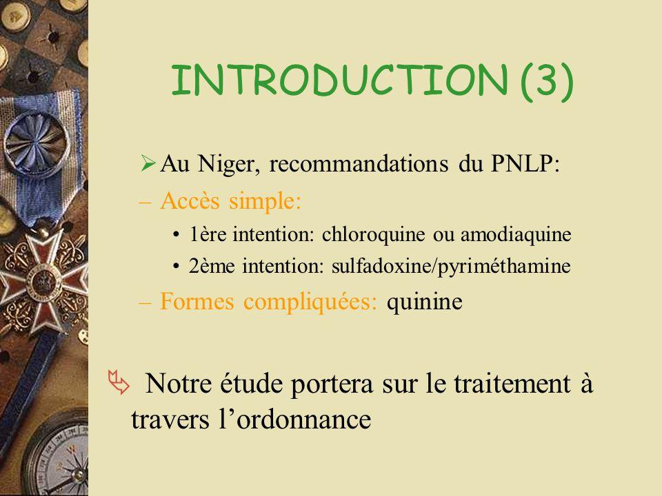 INTRODUCTION (3)  Au Niger, recommandations du PNLP: – Accès simple: •1ère intention: chloroquine ou amodiaquine •2ème intention: sulfadoxine/pyrimét