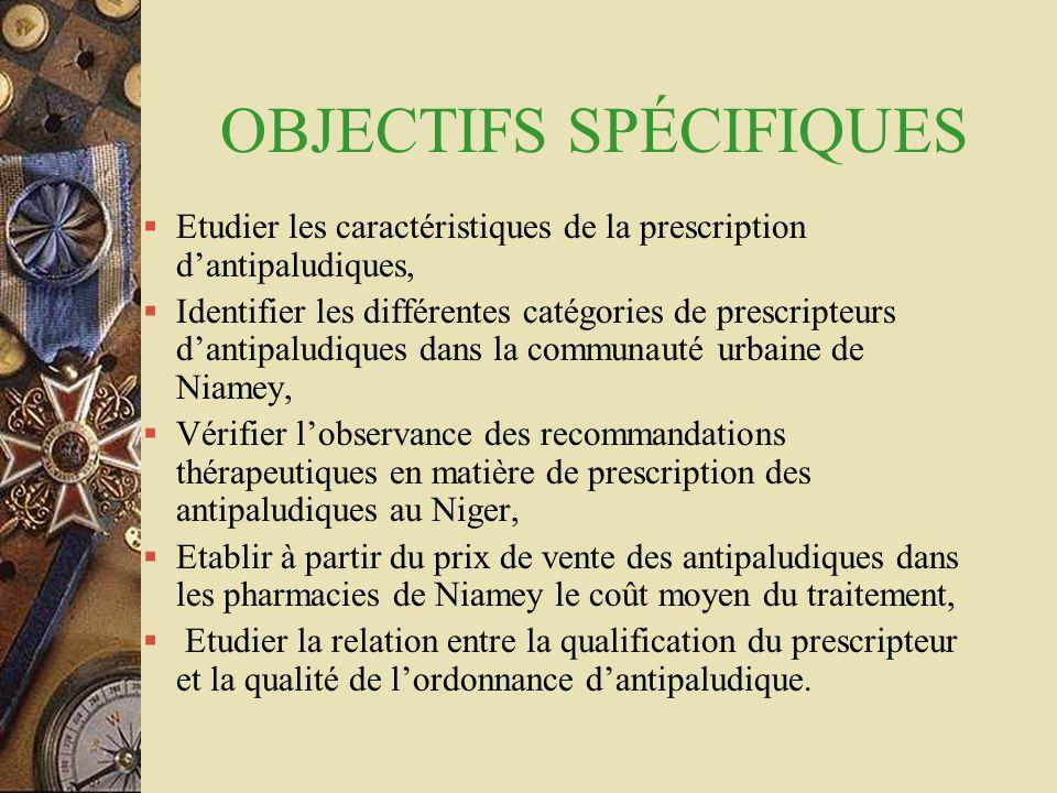 OBJECTIFS SPÉCIFIQUES  Etudier les caractéristiques de la prescription d'antipaludiques,  Identifier les différentes catégories de prescripteurs d'a
