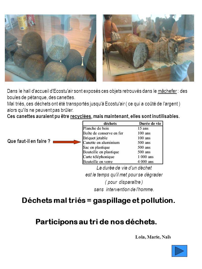 Dans le hall d'accueil d'Ecostu'air sont exposés ces objets retrouvés dans le mâchefer : des boules de pétanque, des canettes.mâchefer Mal triés, ces