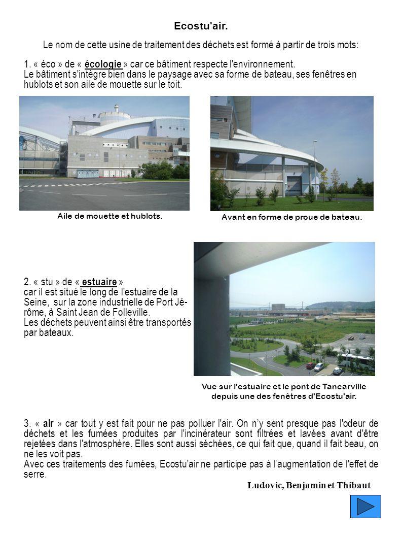 Ecostu'air. Le nom de cette usine de traitement des déchets est formé à partir de trois mots: 1. « éco » de « écologie » car ce bâtiment respecte l'en