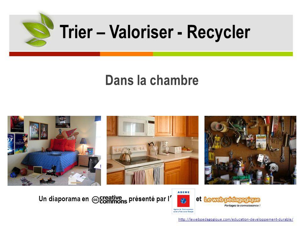 Dans la chambre Un diaporama en présenté par l' et http://lewebpedagogique.com/education-developpement-durable/ Trier – Valoriser - Recycler