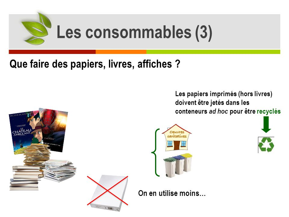 Que faire des papiers, livres, affiches ? Les papiers imprimés (hors livres) doivent être jetés dans les conteneurs ad hoc pour être recyclés On en ut