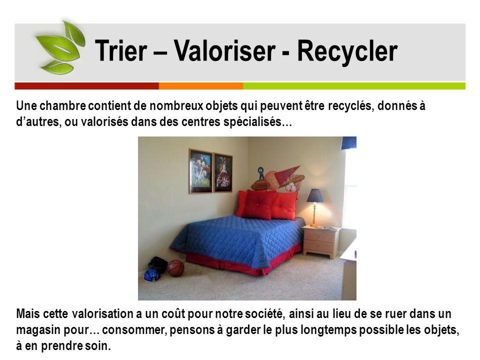 Une chambre contient de nombreux objets qui peuvent être recyclés, donnés à d'autres, ou valorisés dans des centres spécialisés… Mais cette valorisati