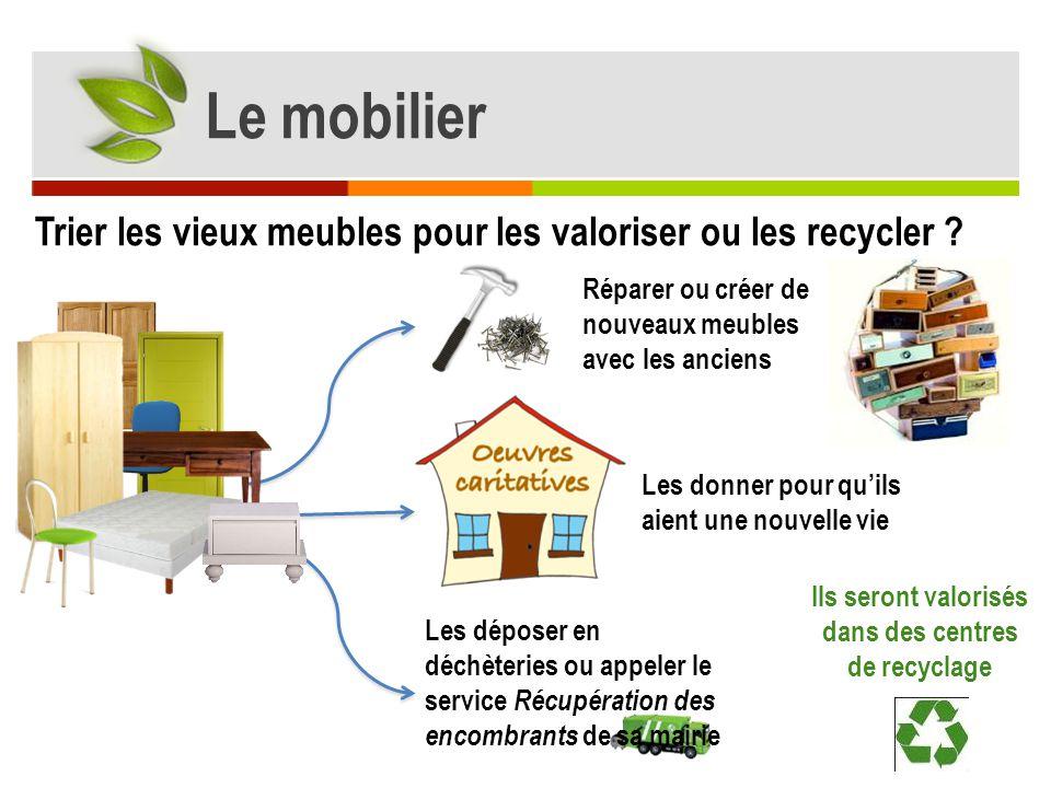 Les déposer en déchèteries ou appeler le service Récupération des encombrants de sa mairie Trier les vieux meubles pour les valoriser ou les recycler