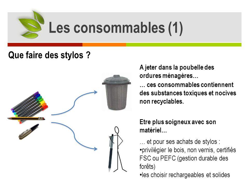 A jeter dans la poubelle des ordures ménagères… Etre plus soigneux avec son matériel… … ces consommables contiennent des substances toxiques et nocive