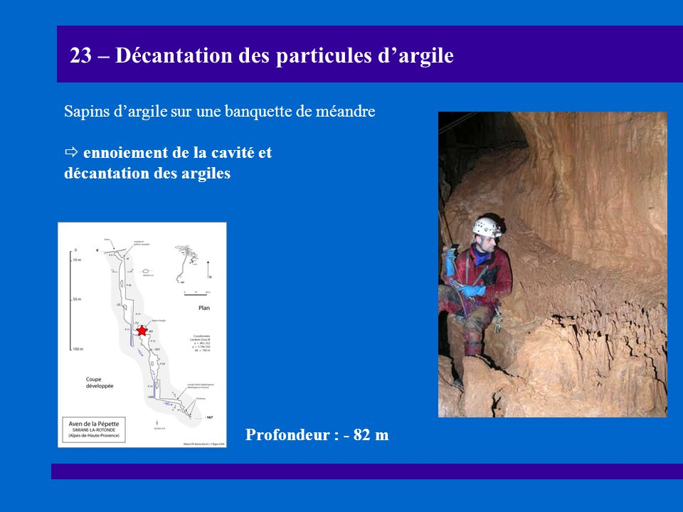 23 – Décantation des particules d'argile Sapins d'argile sur une banquette de méandre  ennoiement de la cavité et décantation des argiles Profondeur