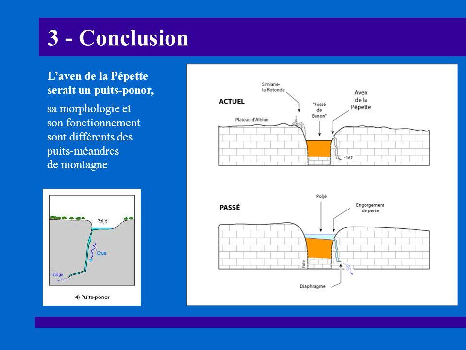 3 - Conclusion L'aven de la Pépette serait un puits-ponor, sa morphologie et son fonctionnement sont différents des puits-méandres de montagne
