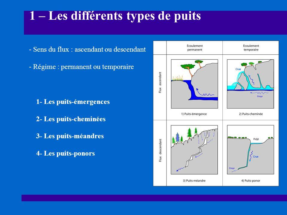 1 – Les différents types de puits 1- Les puits-émergences 2- Les puits-cheminées 3- Les puits-méandres 4- Les puits-ponors - Sens du flux : ascendant