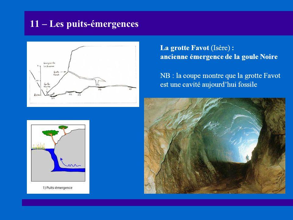 11 – Les puits-émergences La grotte Favot (Isère) : ancienne émergence de la goule Noire NB : la coupe montre que la grotte Favot est une cavité aujou