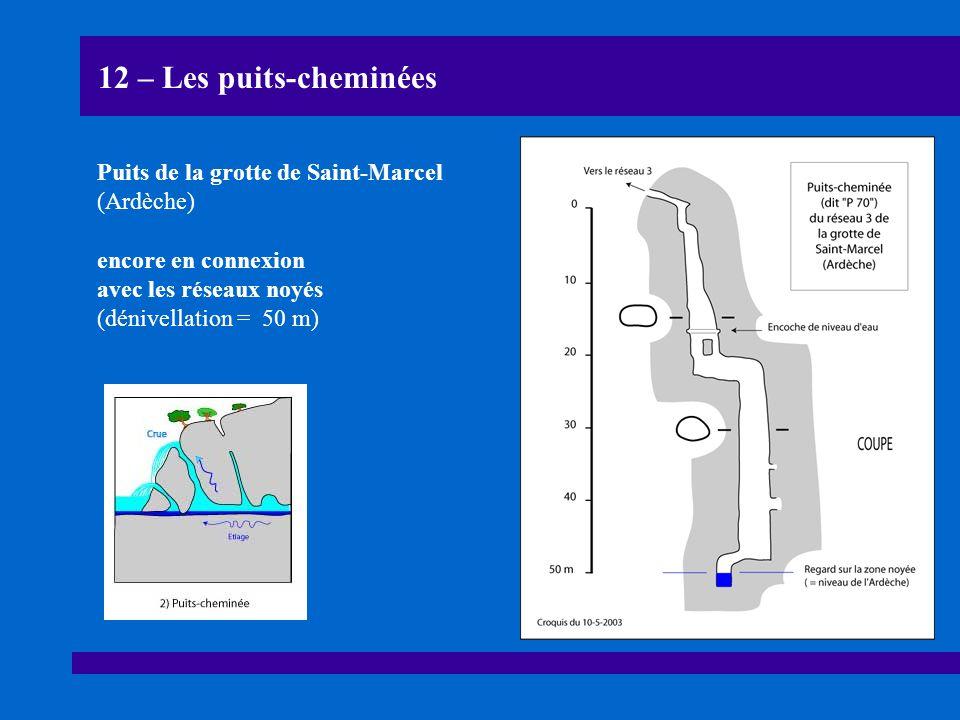 12 – Les puits-cheminées Puits de la grotte de Saint-Marcel (Ardèche) encore en connexion avec les réseaux noyés (dénivellation = 50 m)