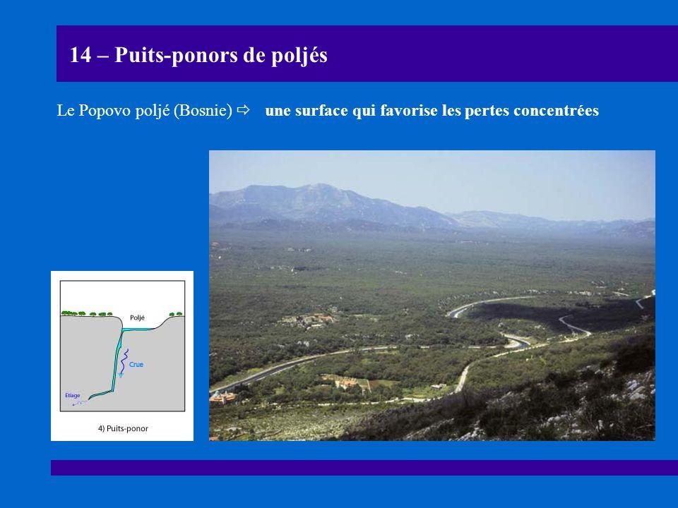 14 – Puits-ponors de poljés Le Popovo poljé (Bosnie)  une surface qui favorise les pertes concentrées