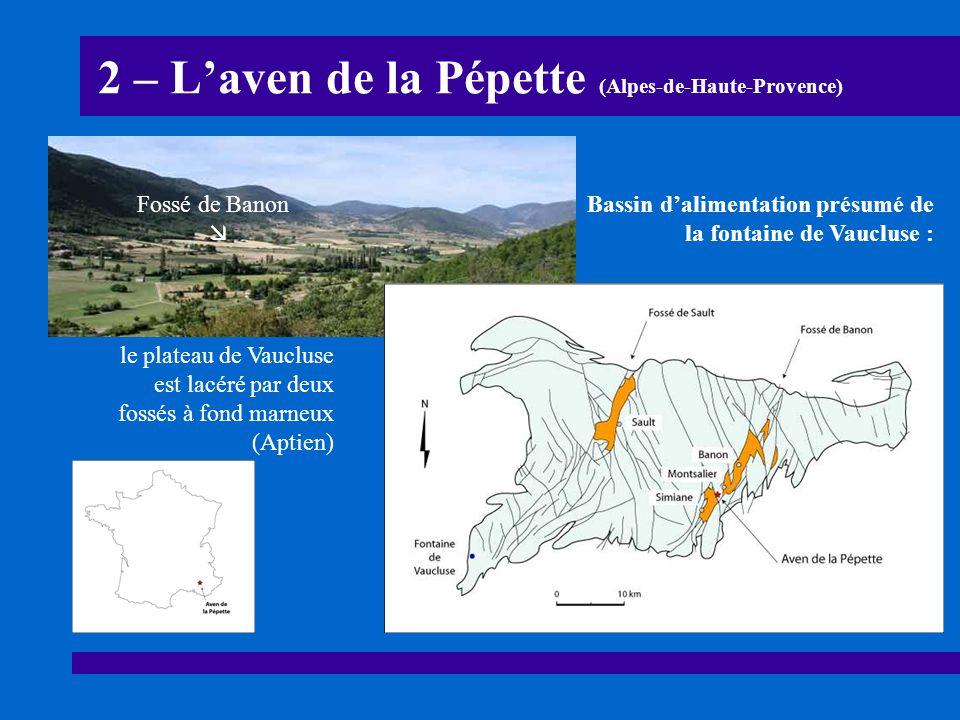 2 – L'aven de la Pépette (Alpes-de-Haute-Provence) Bassin d'alimentation présumé de la fontaine de Vaucluse : le plateau de Vaucluse est lacéré par de