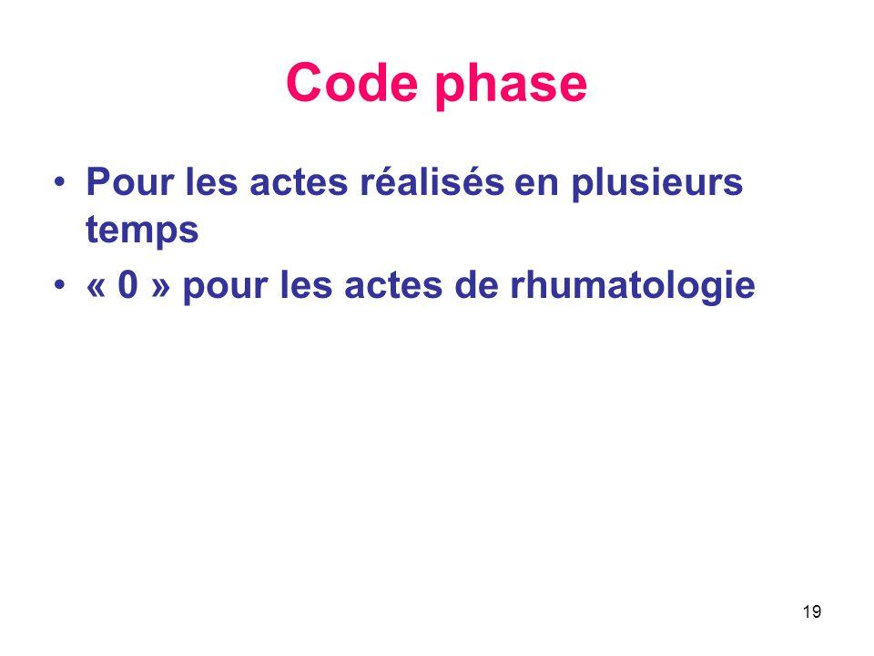 19 Code phase •Pour les actes réalisés en plusieurs temps •« 0 » pour les actes de rhumatologie
