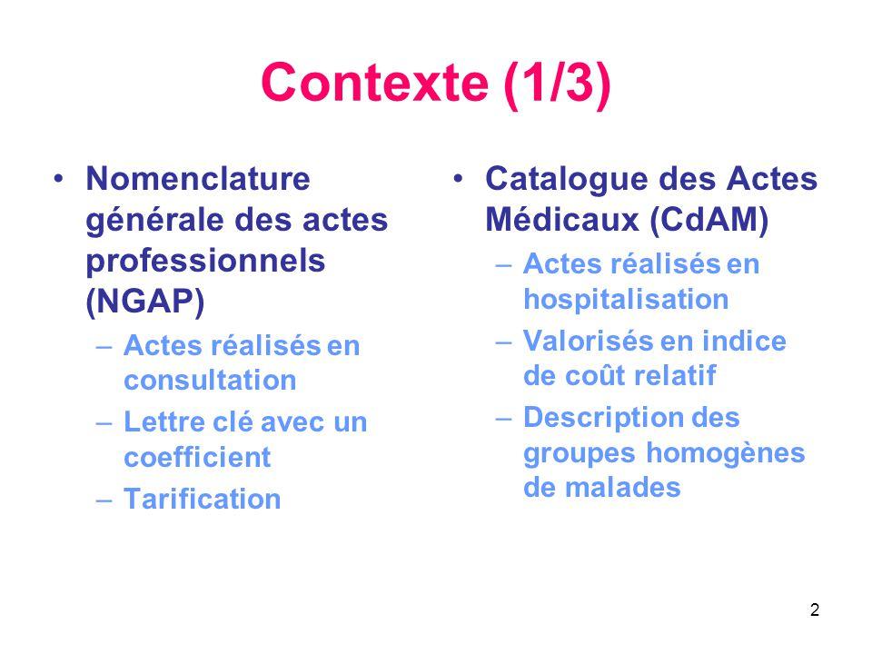 2 Contexte (1/3) •Nomenclature générale des actes professionnels (NGAP) –Actes réalisés en consultation –Lettre clé avec un coefficient –Tarification